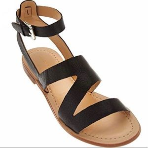Marc Fisher Black Leather Strap Florette Sandals 7